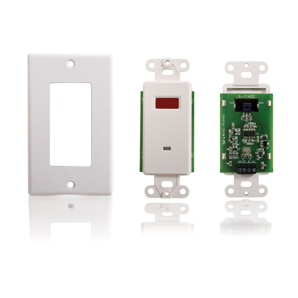 C2G/Cables to Go 40478 Infrared (IR) Remote Control Dual Band Wall Plate Receiver, TAA Compliant