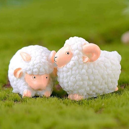 2x Sheep Garden Decoration Moss Miniature//Terrarium DIY Accessories DollhouoseDS