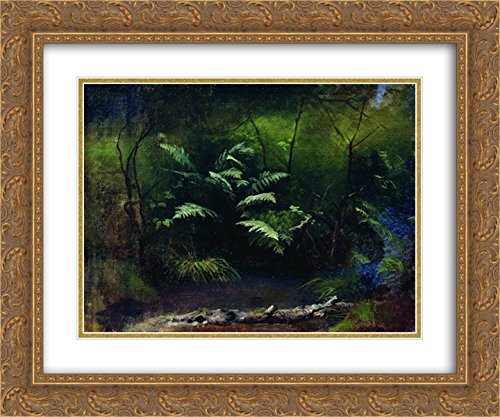 Isaac Levitan 2X Matted 24x20 Gold Ornate Framed Art Print 'Ferns by The Water' ()