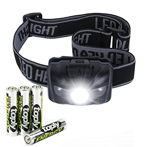 LURICO Headlamp LED Outdoor Headlight Flashlight,  IP6 Waterproof Include 3 AAA (6 Left Hand Super Switch)