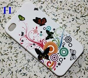 CHSH Carcasa blando de TPU Silicona Cover para Apple iPhone 4 4G 4S flor mariposa NO.11