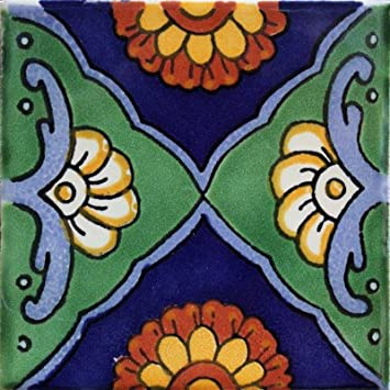 Fine Crafts Imports 2×2 36 pcs Green Sea Talavera Mexican Tile