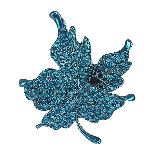 Womens Suit Lapel Maple Leaf Brooch Pin for Wedding Boutonniere Stick | Main Colour - - Lizard Marcasite Pin