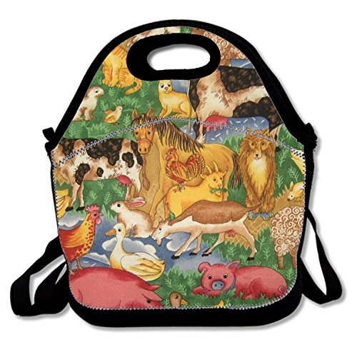 Insulated Lunch Bag Farm Animal lunchbox Waterproof Cooler warm Bags Reusable Tote (Farm Animals Lunch)