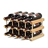 madewin DIY Wine Bottle Holder Rack Display Stand Wood Storage Stackable for 12 Bottles