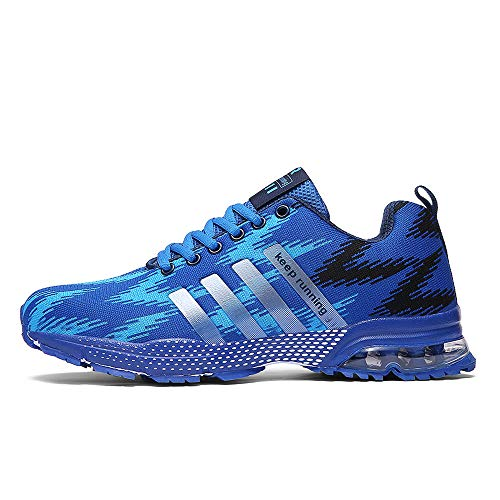 XIDISO Mens Womens Running Shoes Air Cushion Sneakers Lightweight Athletic Tennis Sport Shoe for Men. Blue-1
