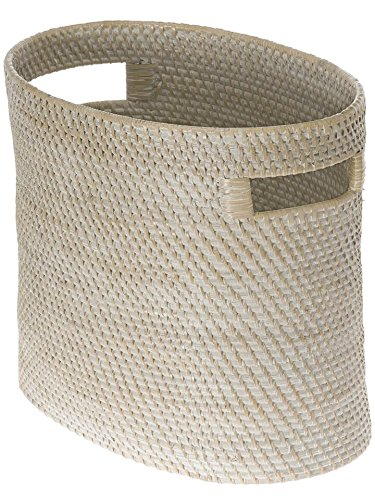 KOUBOO 1060083 Laguna Oval Rattan Magazine Rack and Newspaper Basket, 14.5' x 8.75' x 12', White...