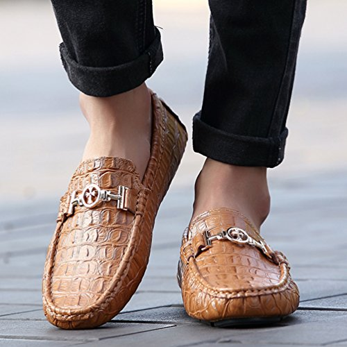 SUNROLAN Ahern Mens Crocodile Leather Slip-On Flat Loafers Bit Ornament Driving Moccasins Boat Shoes New Saddle Brown fUV9Wego0