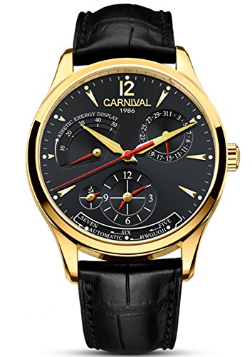 (CARNIVAL Mens kinetic display Automatic Machine Stainless Steel Sapphire Waterproof Leather Black Watch)