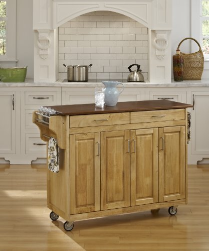 Create-a-Cart Natural Finish 4 Door Cabinet Kitchen Cart with Oak Top by Home Styles