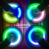 Fidget Hand Spinner With LED LIGHT with 7 colors Brand New Tri Spinner Prime Toy With Color Changing Shining Premium Anxiety Toy Helps Focus For Kids And Adults Stress Reducer (New white)