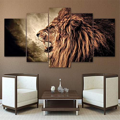 JESC Fierce Lion-Limited Edition Art Canvas-5 Piece Canvas Painting Drop Shipping -