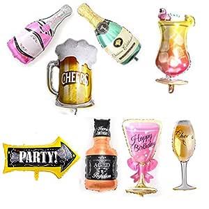 MissGood Globos Hawaianos Champagne Copa de Vino Cerveza Cerveza Whisky Cóctel Botella Foil Globos Verano Fiesta en la Playa Boda Cumpleaños ...