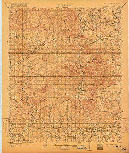 YellowMaps Lukfata OK topo map, 1:125000 Scale, 30 X 30 Minute, Historical, 1902, Updated 1917, 19.9 x 16.8 in - Paper