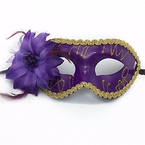 Face mask Shield Veil Guard Screen Domino False Front Flat Headband Painted Side Flower Children Ladies Make-up Dance mask Purple by PromMask