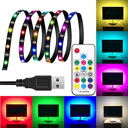MAUBHYA DC5V 1M 2M 3M WS2812 SMD5050 Waterproof Smart IC USB LED Strip Light+17 Keys Remote Control