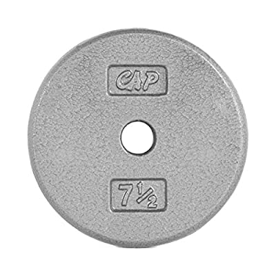 CAP Barbell Standard Free Weight Plate, 1-Inch, 7.5-Pound, Gray