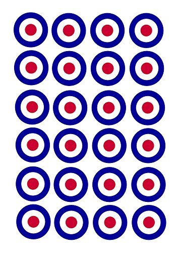 Raf Airplane - 24 Birthday Cake Toppers 4cm On Icing - RAF War Airplane Plane targets by Print4you