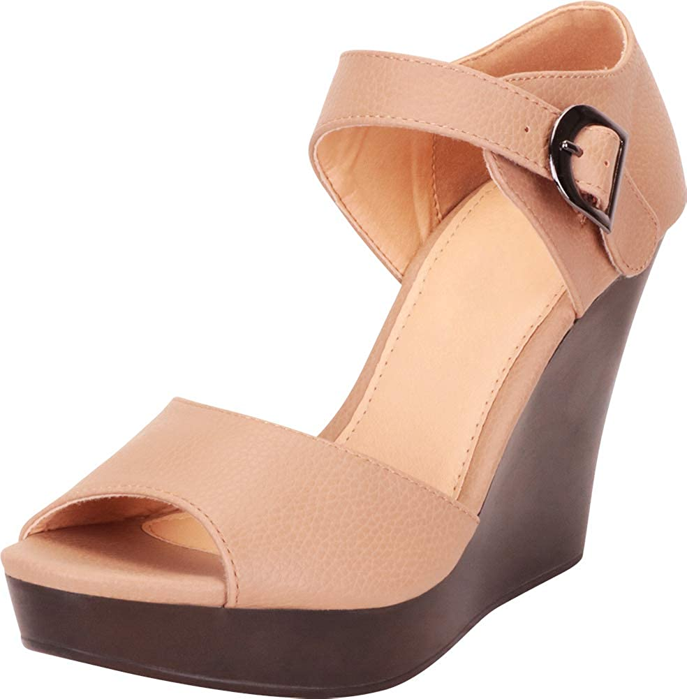 Camel Pu Cambridge Select Women's Open Toe Chunky Platform Wedge Sandal