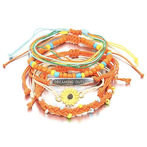5 Pieces Sunflower Bracelet Inspirational Braided Rope Bracelet Waterproof String Ocean Surfer Bracelet Colorful Beaded Boho Charms for Women -