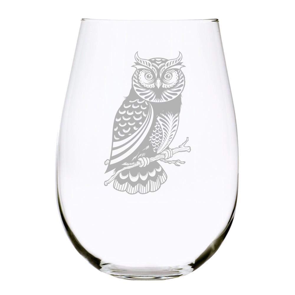 Owl Stemless Wine Glass 17 Oz Handmade