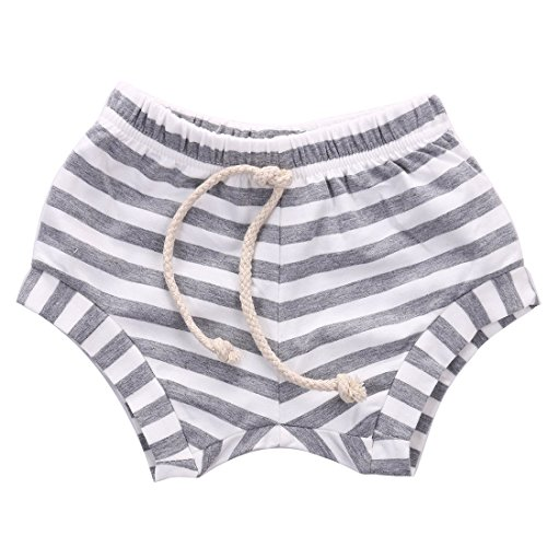 Baby Boy Girl Striped Training Pants Summer French Terry Shorts Drawstring Toddler Underwear Grey - Terry Shorts Bright