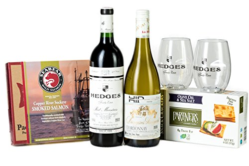 Hedges Family Estate The Proper Picnic Gift Set with Copper River Smoked Salmon, Partners Crackers, and 2 Go Vino glasses, 2 x 750 mL