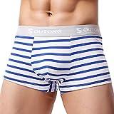 Underwear Men Shorts Boxer Briefs Striped Bulge Pouch Underpants by Gergeos
