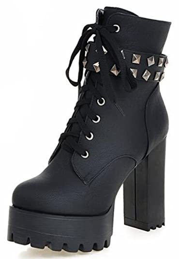 Women's Punk Studded Platform High Chunky Heels Lace Up Martin Ankle Boots With Zipper