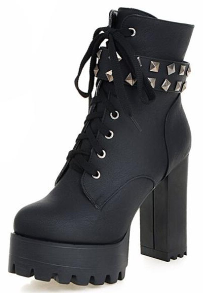 IDIFU Women's Punk Studded Platform High Chunky Heels Lace Up Martin Ankle Boots With Zipper (Black, 8.5 B(M) US)