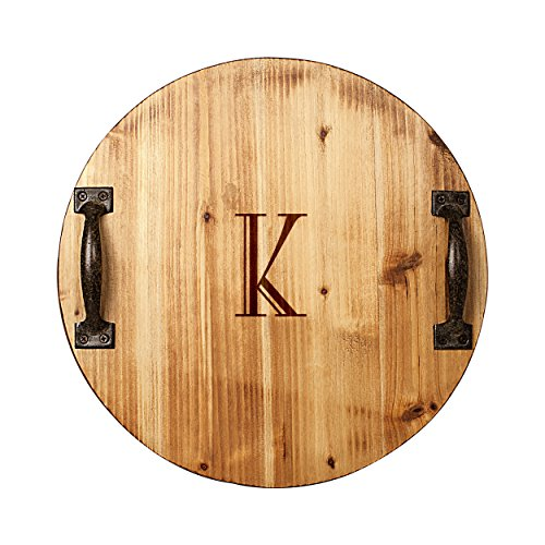 Monogram Large Platter (Cathy's Concepts Personalized Rustic Wood Tray with Metal Handles, Letter)