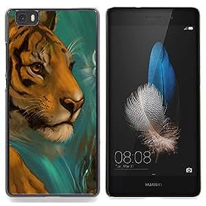 "Qstar Arte & diseño plástico duro Fundas Cover Cubre Hard Case Cover para Huawei Ascend P8 Lite (Not for Normal P8) (Cara del tigre Dibujo Paintin la acuarela del gato"")"
