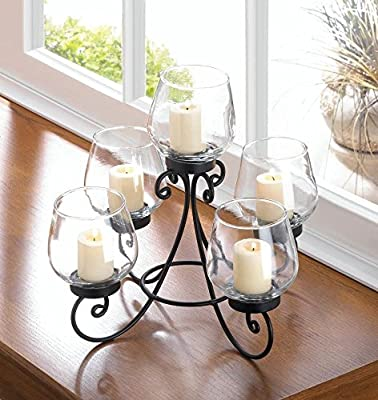 Enlightened Candle Centerpiece Black Iron Glass Holders Raised Center Cup