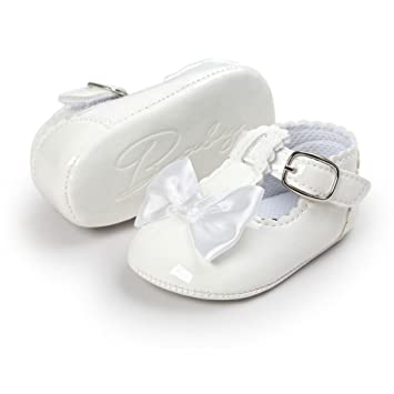 30ef1fe5cc1b4 Lanhui Baby Bowknot Princess Anti-Slip Soft Sole Shoes Toddler Sneakers  Casual (White, 0-6Months)