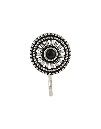 23cd2f9a4a2 Buy Anuradha Art Silver Finish Round Shape with Black Colour Stone Wonderful  Clip-On Nose Ring Pin for Women Girls Online at Low Prices in India
