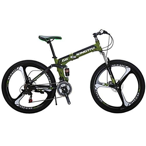 Eurobike Moumtain Bike G6 21 Speed 26 Inch Bicycle 3-Spoke Wheels Dual Disc Brake Folding Bike