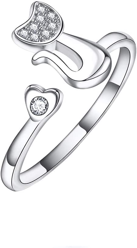 Hosaire Anillos de Apertura Metal-Ajustable Mujeres Plata de Diamante en Forma de Pequeño Gato