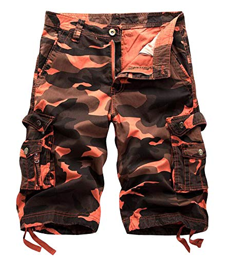 (DONSON Mens Camo Multi-Pocket Cargo Shorts Casual Loose Fit Shorts Cotton (38, Red Wine Camo))
