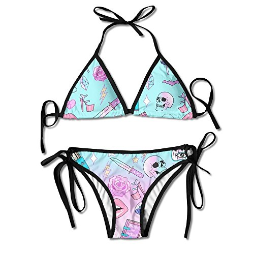 (Womens Padded Push-up Bikini Set Girly Pastel Witch Goth Pattern Sexy Bathing Suits Two Pieces Swimsuit Black and)