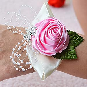 USIX 2pc Pack-Handmade Satin Rose Wrist Corsage With Elastic Lace Wristband for Girl Bridesmaid Wedding Wrist Corsage Party Prom Flower Corsage Hand Flower (Pink) 9