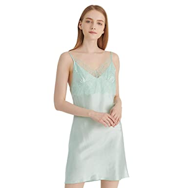LilySilk Silk Nightdress for Women Natural 19 Momme Mulberry Silk Lace  Trimmed Cute Slip Dress for 0c45c47b5