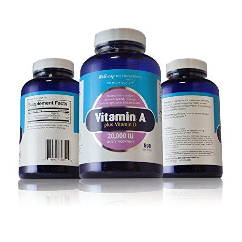 Well Cap Sugar Free Vitamin A plus Vitamin D | 20,000 IU | 500 Softgels | One Year Supply!