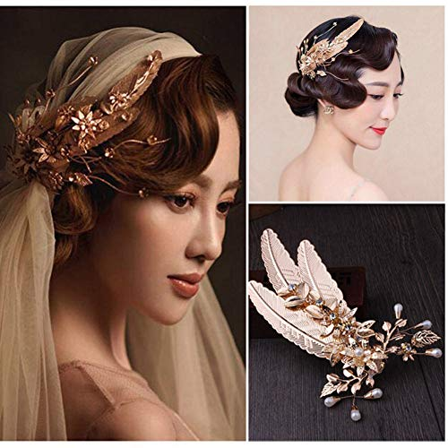 Metal Leaf Feather Hair Accessories Wedding Girl Women Hairpin Hair Claw Clip Jaw Clips Duckbill Clip ()