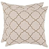 Safavieh Pillows Collection Sophie Decorative Pillow, 18-Inch, Taupe, Set of 2