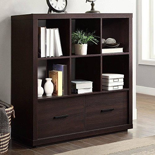 Better Homes and Gardens.. 6-Cube + 2 Drawers Room Storage Organizer in Espresso Finish + Include Free Furniture Dust Cleaning Cloth