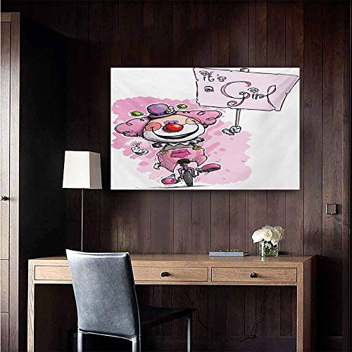 duommhome Gender Reveal Abstract Painting Artistic Clown on a Unicycle Holding Its a Girl Plackard Print Natural Art 35