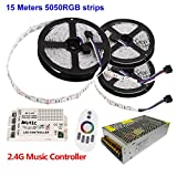 Firstsd 49.2ft(15m) RGB Flexible LED Strip Light DC12V Sound Sensor Color Changing SMD 5050 String Lighting + Music RF 2.4G Remote + Power Supply( Non-waterproof strip)
