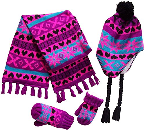 rls And Infants Sherpa Lined Snowflake Knitted Set (4-7yrs, Black/Neon Pink/Purple/Turq) ()