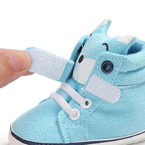 HUHU833 Baby Girl Boys Fox High Cut Schuhe Sneaker Anti-Rutsch Soft Sole Kleinkind Hellblau