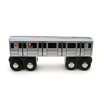 Munipals Wooden Railway NYC Subway Car D Train: Toys & Games